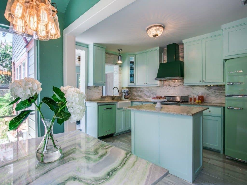 warna dinding dapur hijau tosca